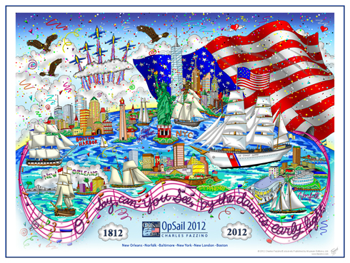The OpSail 2012 Poster with 3D pop art of New York City by Charles Fazzino