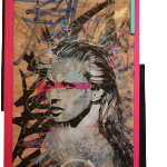 Avatar- Kate Moss – Mixed Media on wood panel