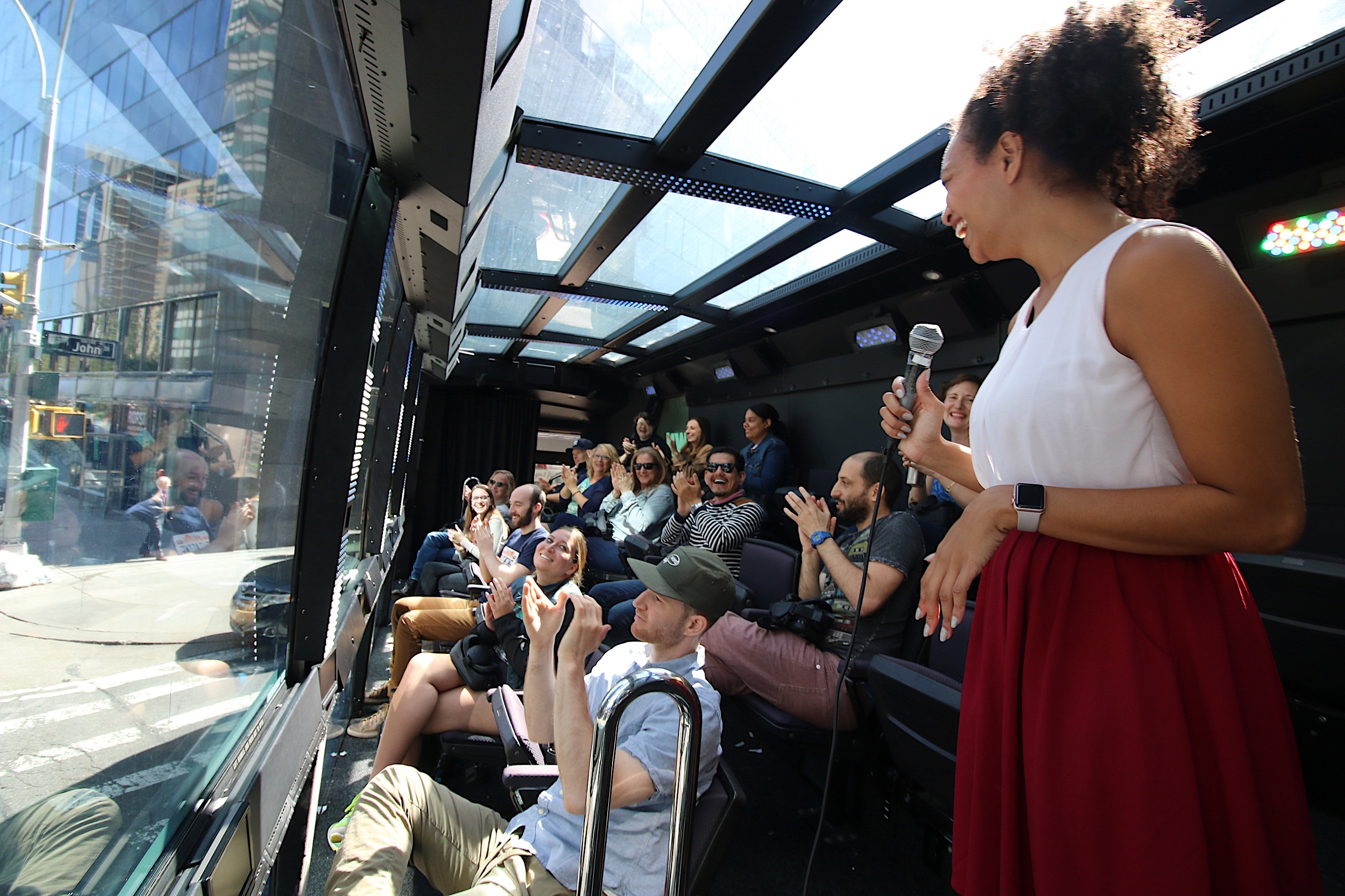 THE DOWNTOWN EXPERIENCE Host & Guests on the THE RIDE Bus