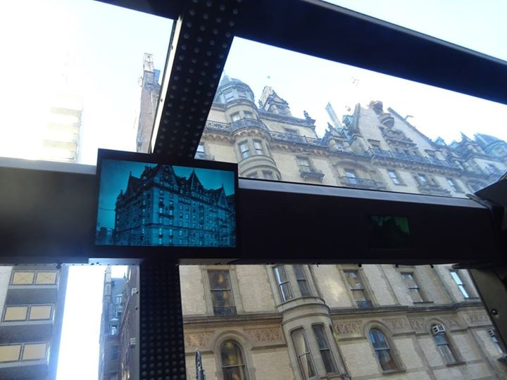View of The Dakota from inside THE TOUR Bus