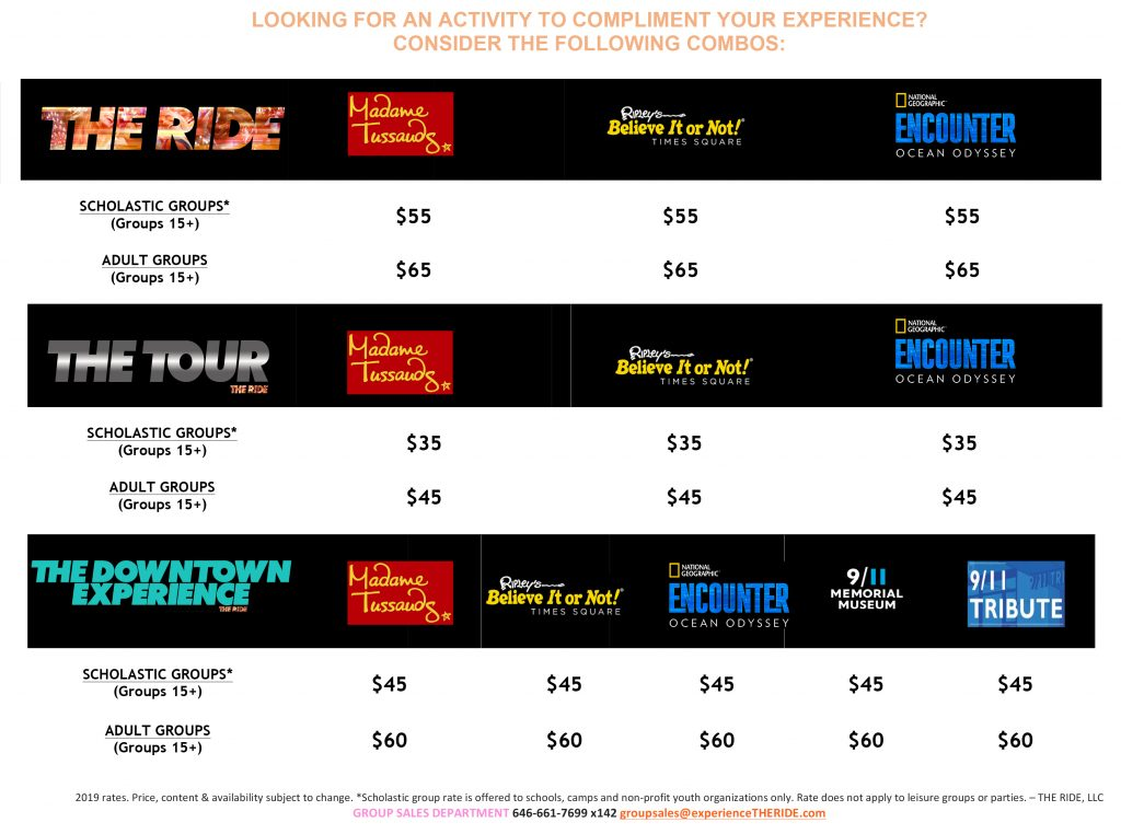 THE RIDE - Attraction Combo Rate Sheet for Scholastic & Adult Groups